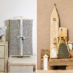 ručne vyrobená skrinka s vypletanými dvierkami a ručne vyrobené kostolíky zo zvyškov dreva