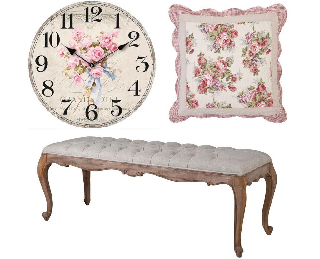 nástenné hodiny shabby chic s motívom ruží, vankúš shabby chic s motívom ruží, drevená lavica s čalúneným sedením