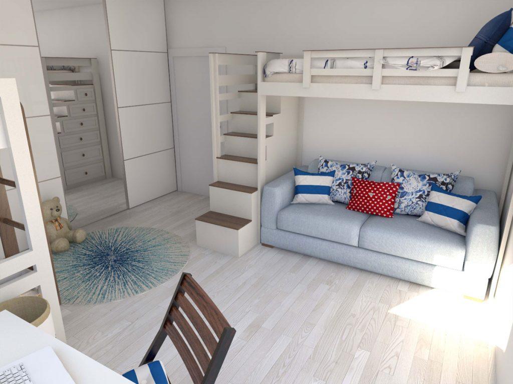 návrh spálne pre viacčlennú rodinu v námorníckom štýle s poschodovými posteľami, rozkladacou pohovkou a pracovným kútom