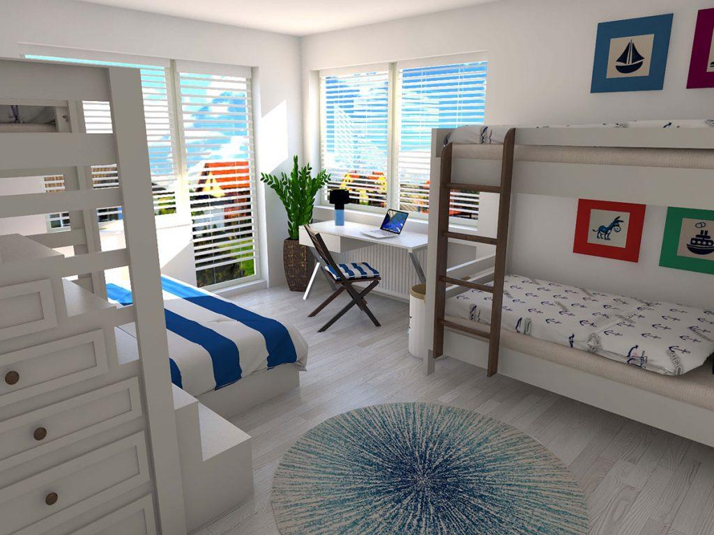 grafický návrh spoločnej spálne pre päťčlennú rodinu v námorníckom štýle s poschodovými posteľami a rozkladacou ortopedickou pohovkou