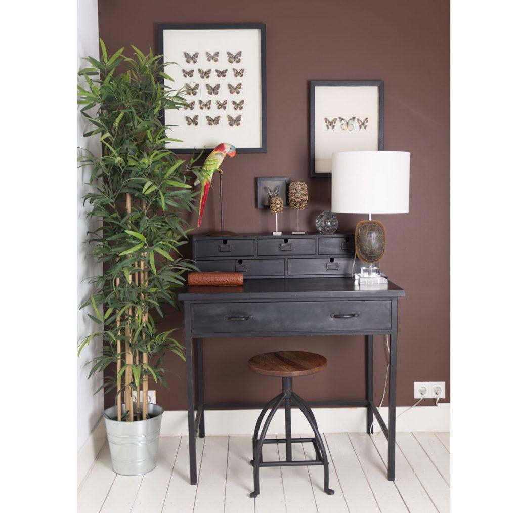 Interiér s hnedou stenou, na ktorej visia obrazy motýľov. Pri stene je tmavý písací stôl s industriálnou kovovou stoličkou, vedľa stola je vysoká zelená kvetina.