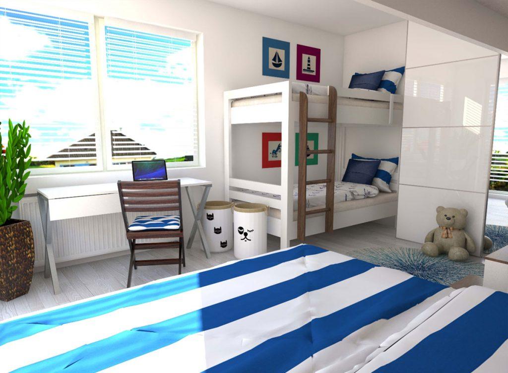 grafický návrh spálne pre viacčlennú rodinu v námorníckom štýle s úložnými priestormi a poschodovou posteľou