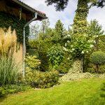 rodinný dom so záhradou s okrasnými trávami, trvalkovými záhonmi, tvarovanými stromčekmi a živým plotom