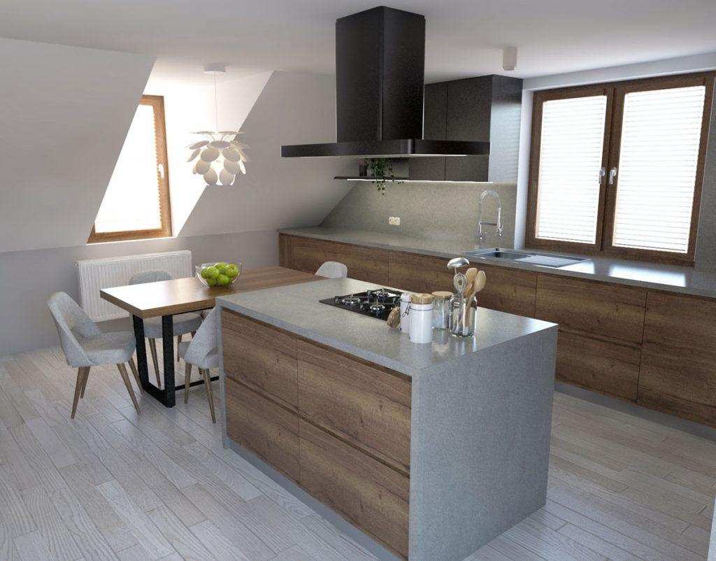 moderná kuchyňa s ostrovčekom v podkroví