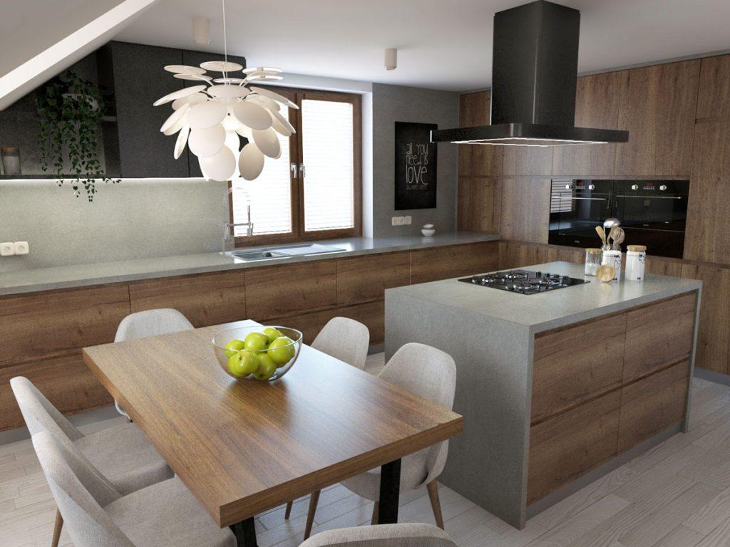 podkrovná kuchyňa v dreve so sivou pracovnou plochou, ostrovčekom, jedálenským stolom