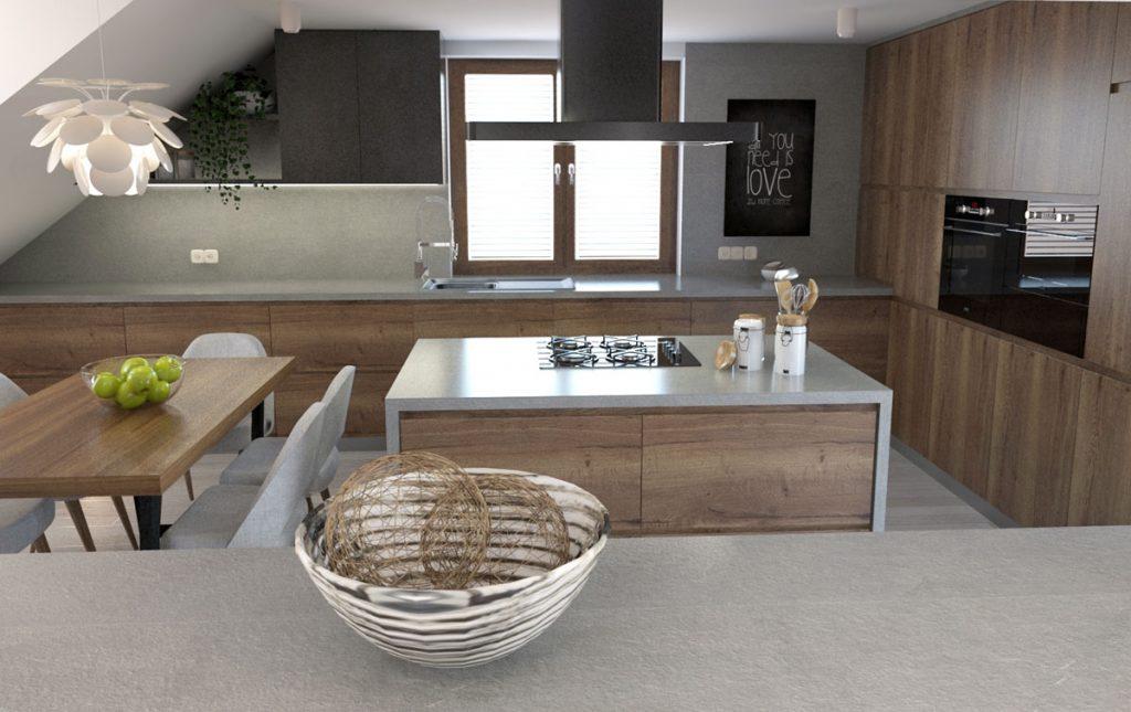 moderná podkrovná kuchyňa v sivo-hnedom prevedení s ostrovčekom