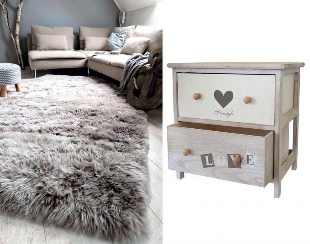 obývačka v škandinávskom štýle s kožušinou na podlahe a sedačkou v prírodných farbách, drevený nočný stolík vo vidieckom štýle so šuflíkmi a nápisom LOVE