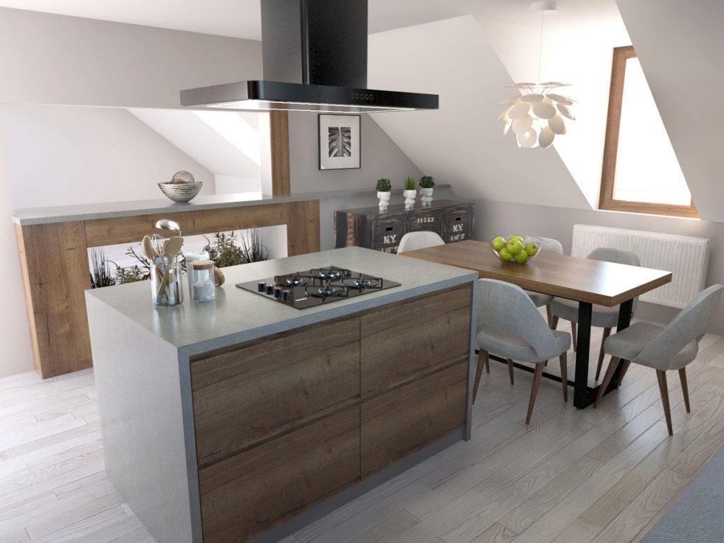 Aj v problematickom priestore podkrovia je možné vytvoriť praktickú kuchyňu s ostrovčekom