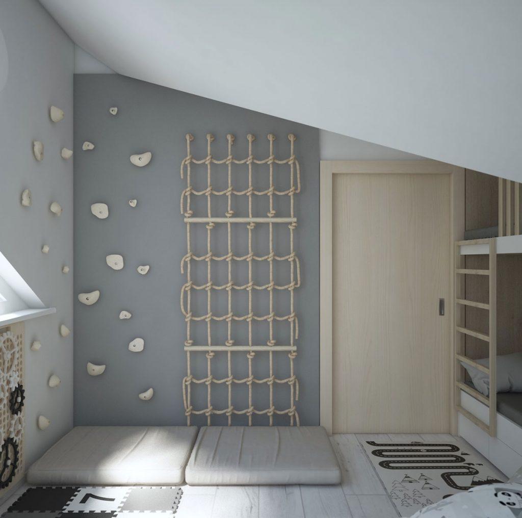 podkrovná malá detská izba s lezeckou stenou, lanami, žinienkou a poschodovou posteľou