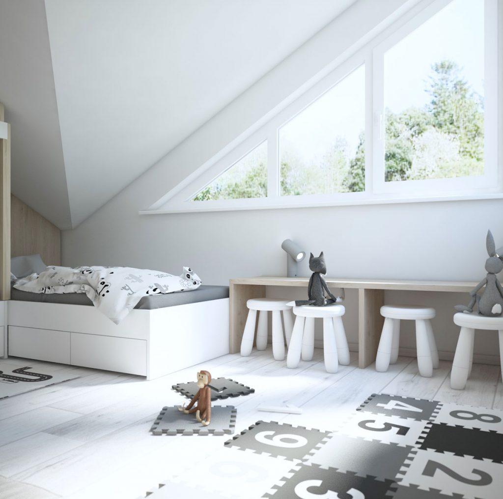 dizajnérsky návrh malej podkrovnej detskej izby