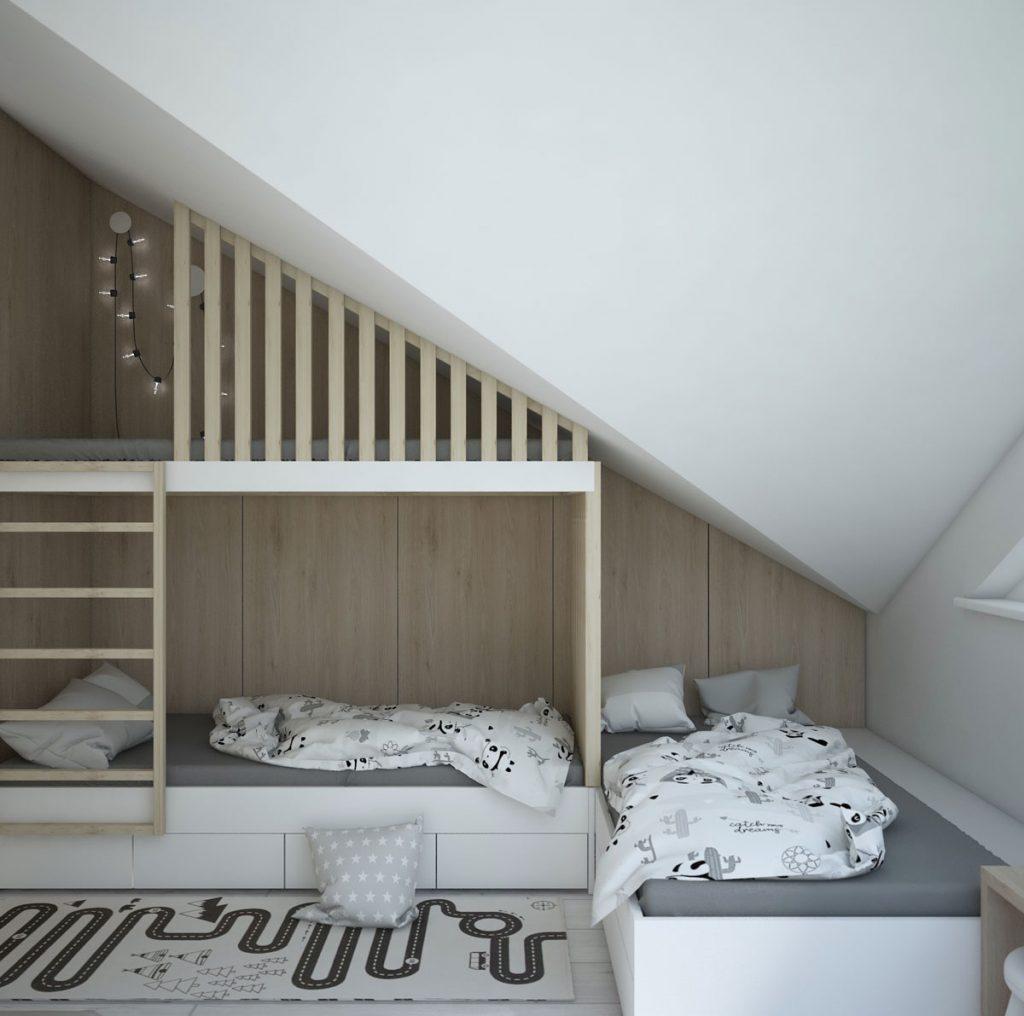 podkrovná detská izba s poschodovou posteľou situovanou pod stenou podkrovia