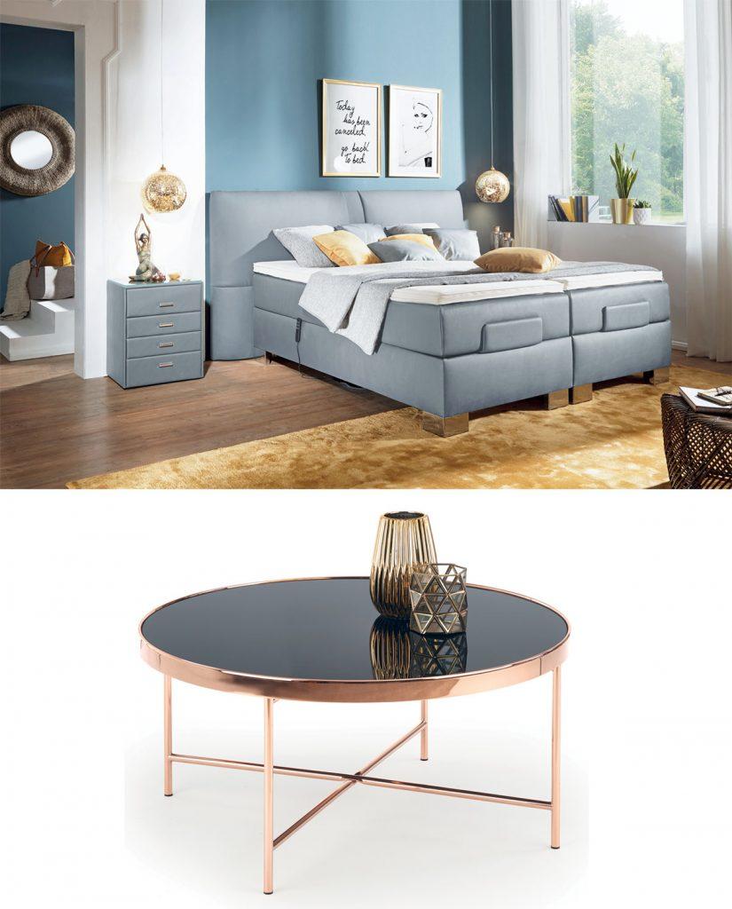 elegantná spálňa so sivou posteľou a sivým nočným stolíkom, sklenený stolík s medenými nožičkami