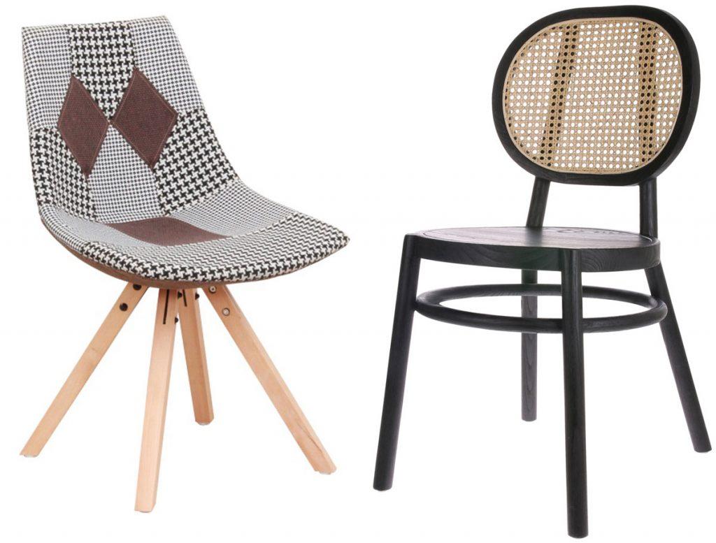 patchworková stolička a retro stolička s ratanovou opierkou