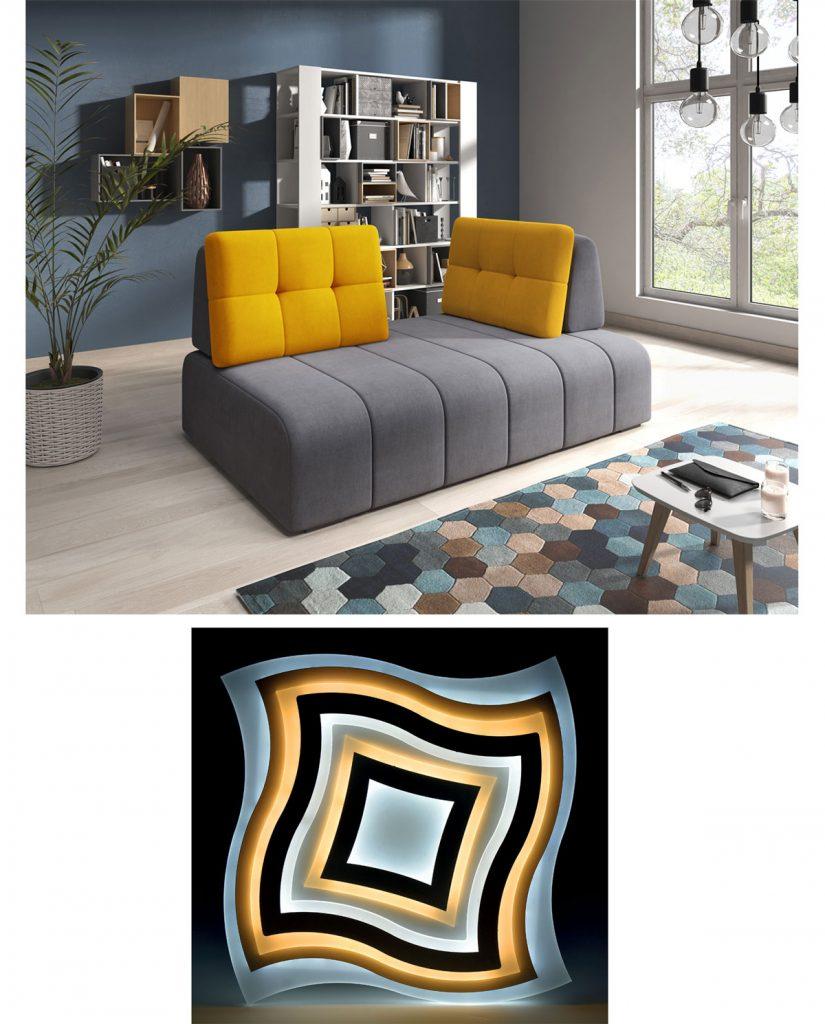 obývačka s atypickou sivou sedačkou, kobercom s geometrickými vzormi, svietidlo s abstraktným geometrickým vzorom