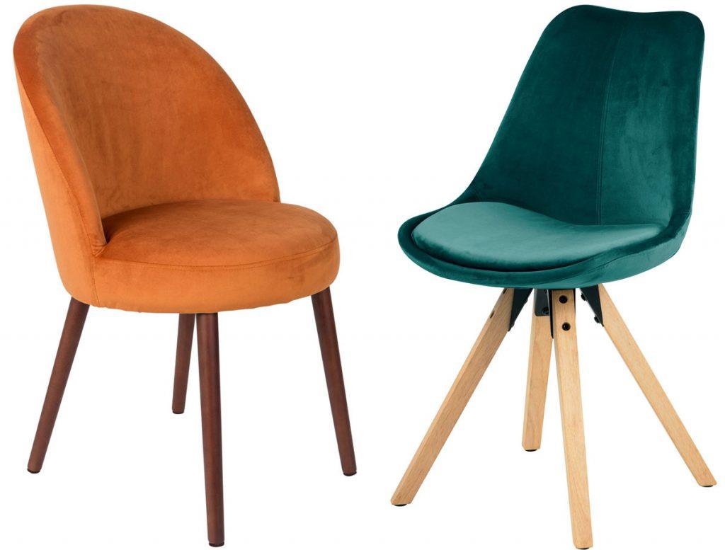 zamatová oranžová jedálenská stolička a zelená zamatová stolička