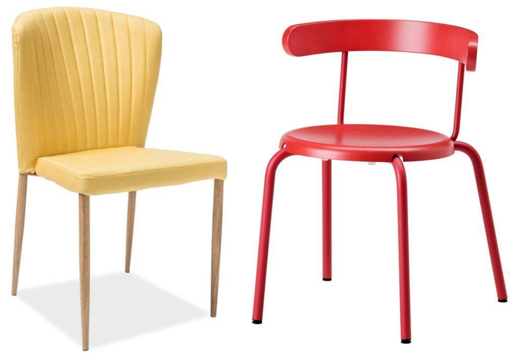 textilná žltá stolička, červená drevená stolička