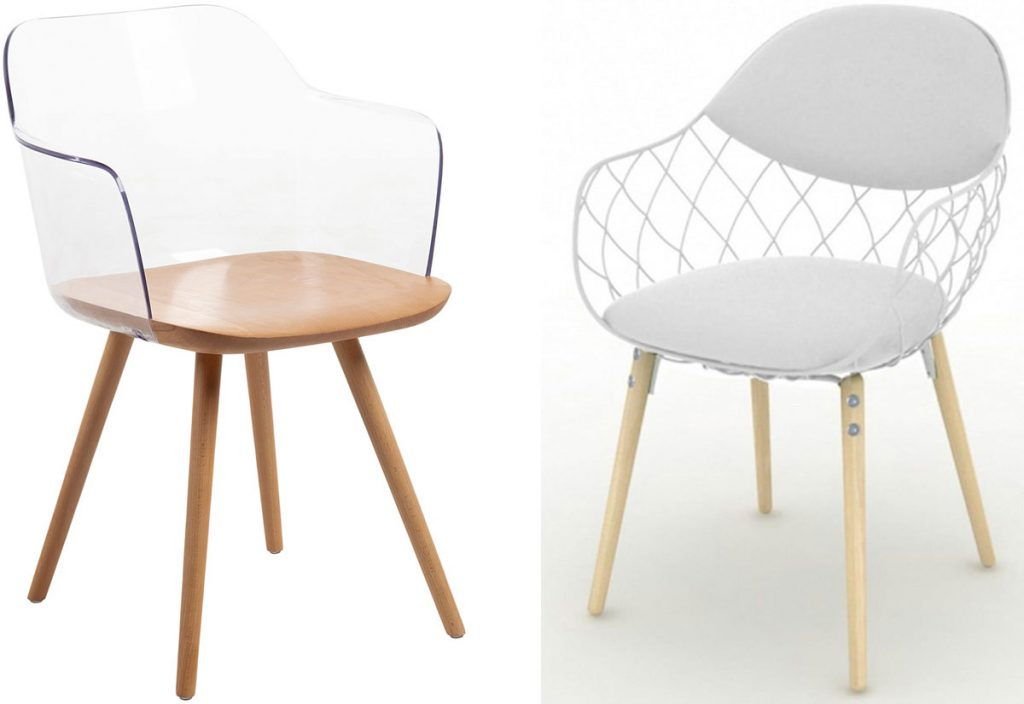 stolička s priehľadným operadlom, stolička s kovovou konštrukciou namiesto operadla