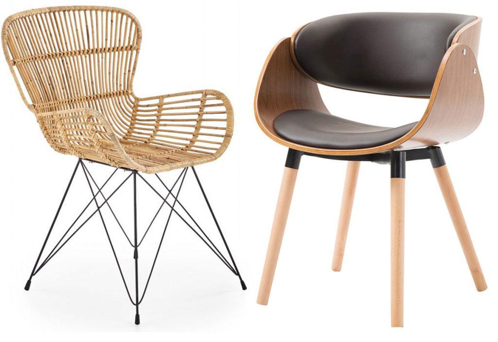 jedálenské ratanové kreslo a jedálenská stolička z ohýbanej preglejky