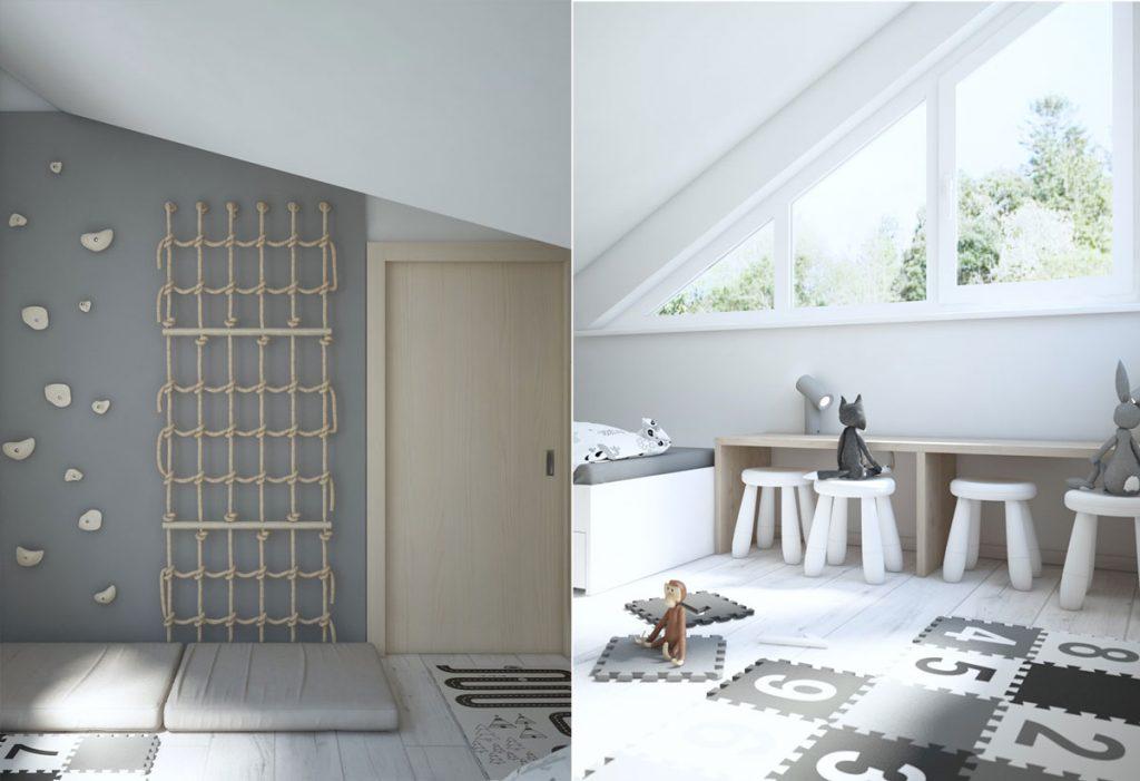 dizajnérsky návrh podkrovnej detskej izby
