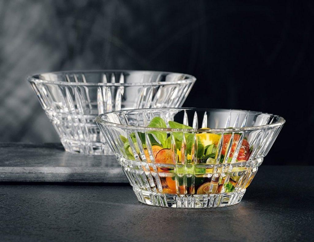 šalátové misy z krištáľového skla
