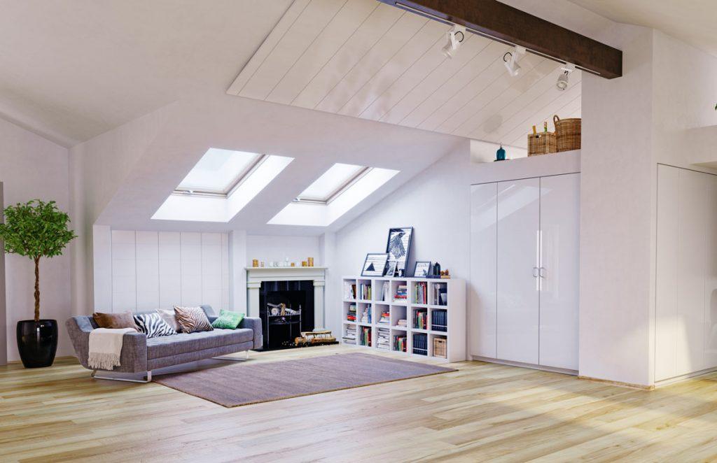 podkrovný interiér s rekonštruovanými omietkami