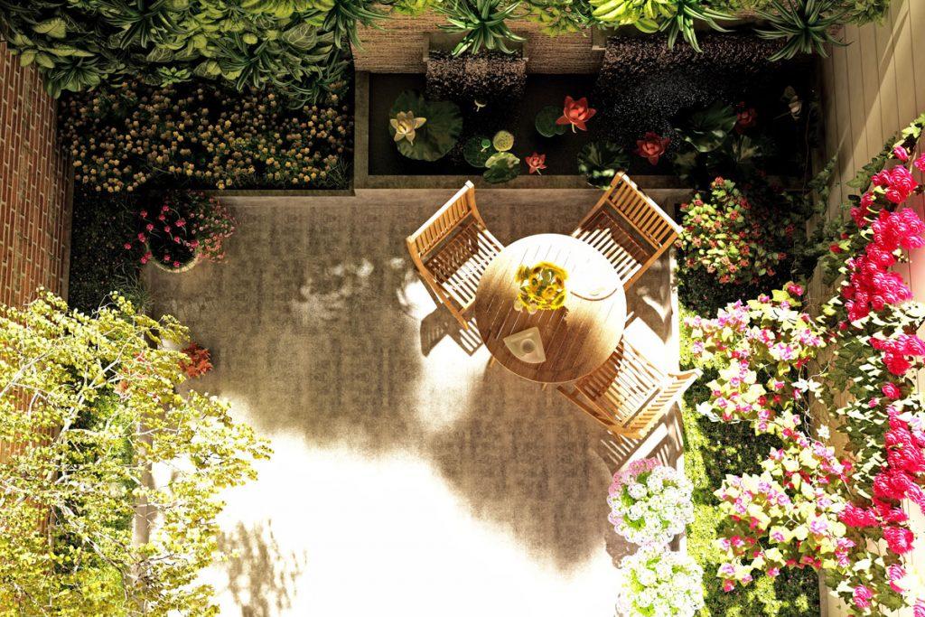 riešenie malej záhrady v podobe átria so sedením, trvalkami, ťahavými rastlinami a rozmernými okrasnými rastlinami