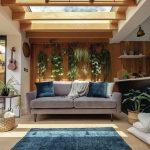 Interiérové trendy 2020: Obývačka s kvetinami zavesenými na stene za šedosivým gaučom.