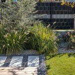 Okrasné zákutie v malej záhrade zložené z tráv, ruží a stromov.