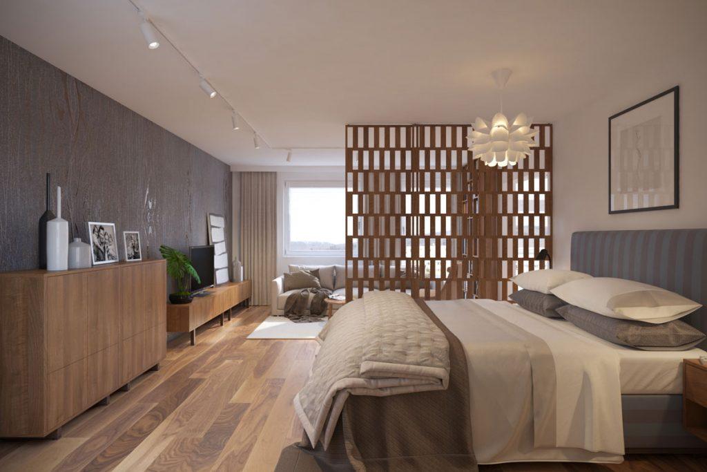 interiérový dizajnérsky návrh obývačky prepojenej so spálňou, kde je deliacim prvkom drevená perforovaná zástena