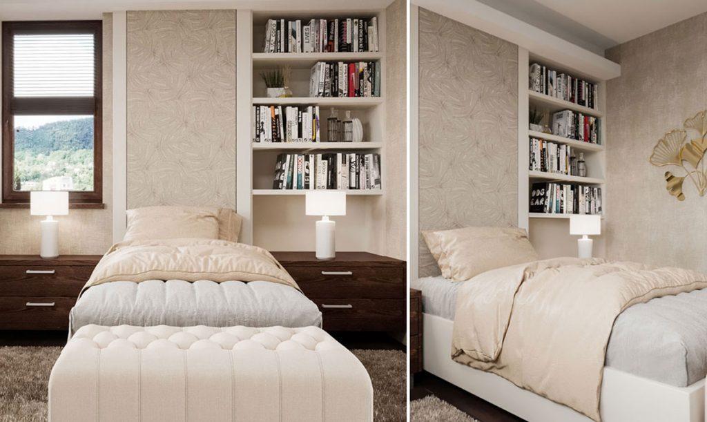 Grafický návrh spálne pre ženu v strednom veku s jednou posteľou a knižnicou.