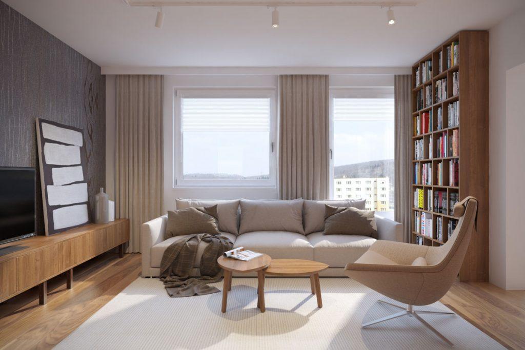 grafický návrh obývačky prepojenej so spálňou