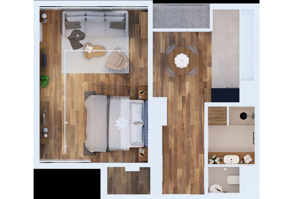 pôdorys priestoru, v ktorom je spálňa prepojená s obývačkou