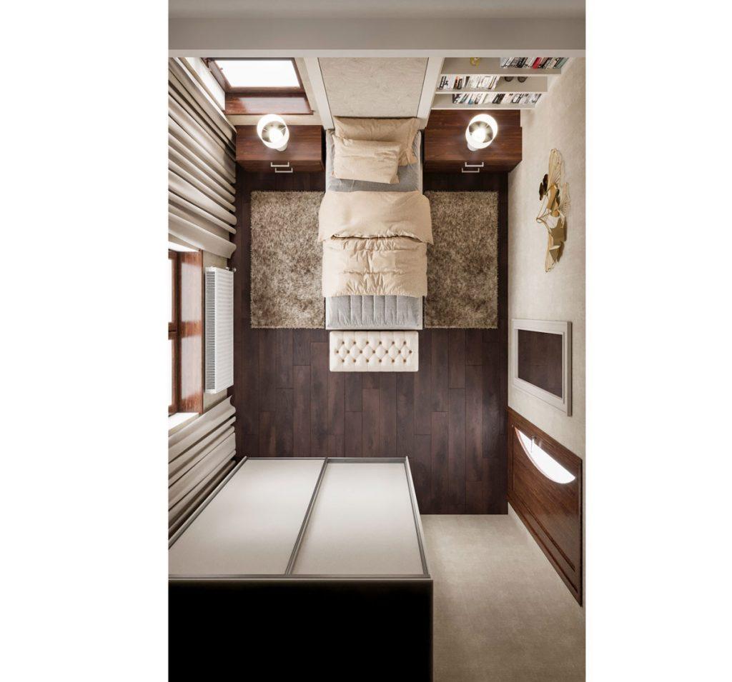 Grafický dizajnérsky návrh menšej spálne pre ženu v zemitých farbách, s jedným lôžkom, knižnicou a divánom.