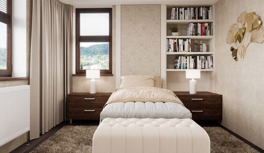 Dizajnérske riešenie spálne pre ženu v strednom veku s jednou posteľou, nočnými stolíkmi, divánom a výklenkom s knižnicou.