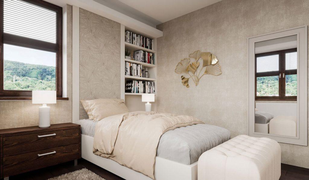 Dizajnérske riešenie spálne pre ženu v zemitých farbách s knižnicou, posteľou a nočným stolíkom.