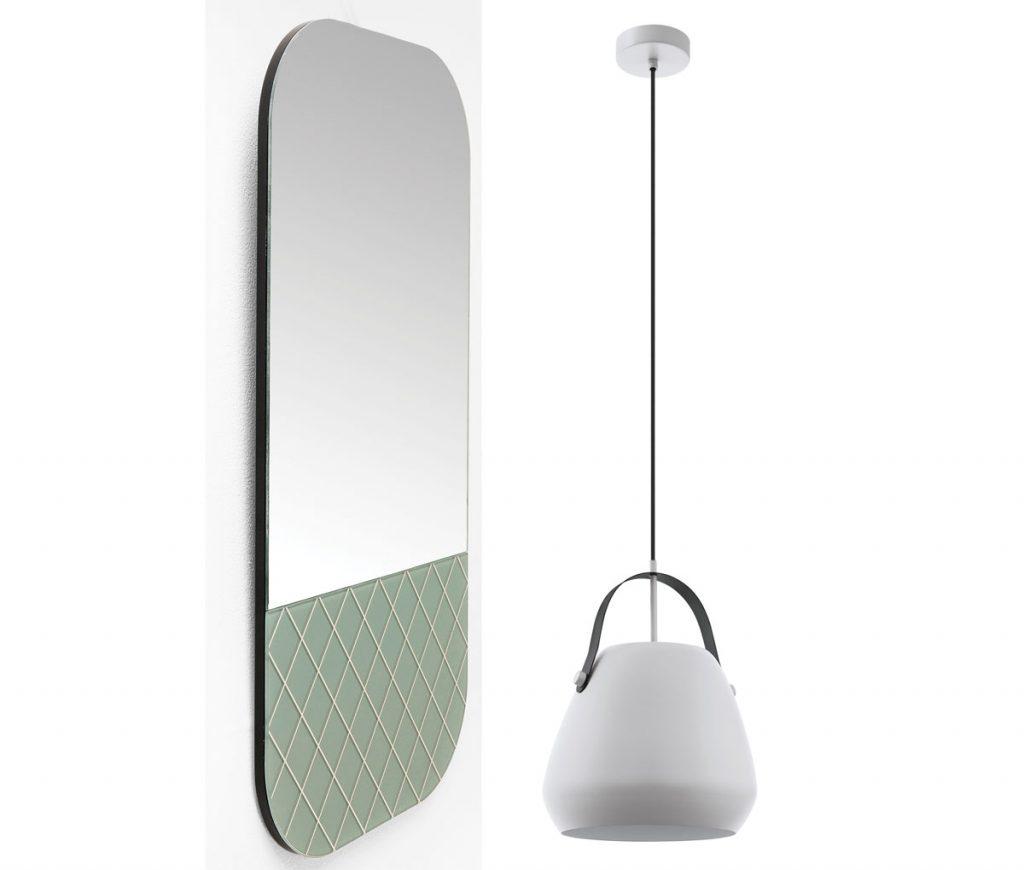 nábytok a doplnky hodiace sa k odtieňu farby roka 2020 mätovo sivej: biele závesné tienidlo a zrkadlo v štýle art déco