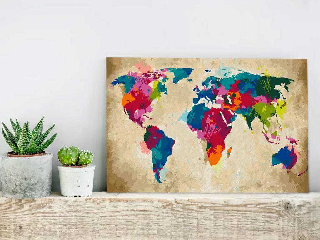 Maľovanie podľa čísel: obraz mapy sveta