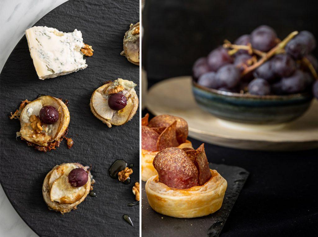 Recepty na slané chuťovky z lístkového cesta: Hrušky zapečené so syrom a salámové ruže
