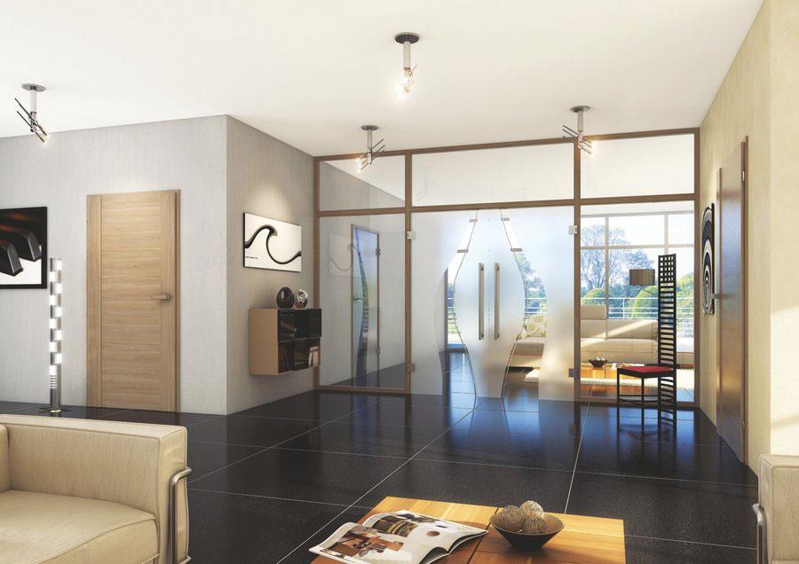 interiérové trendy 2020, interiér s presklenou stenou zariadený v zemitých farbách