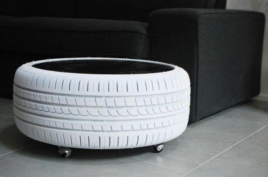 recyklovaný nábytok: stolček z pneumatiky