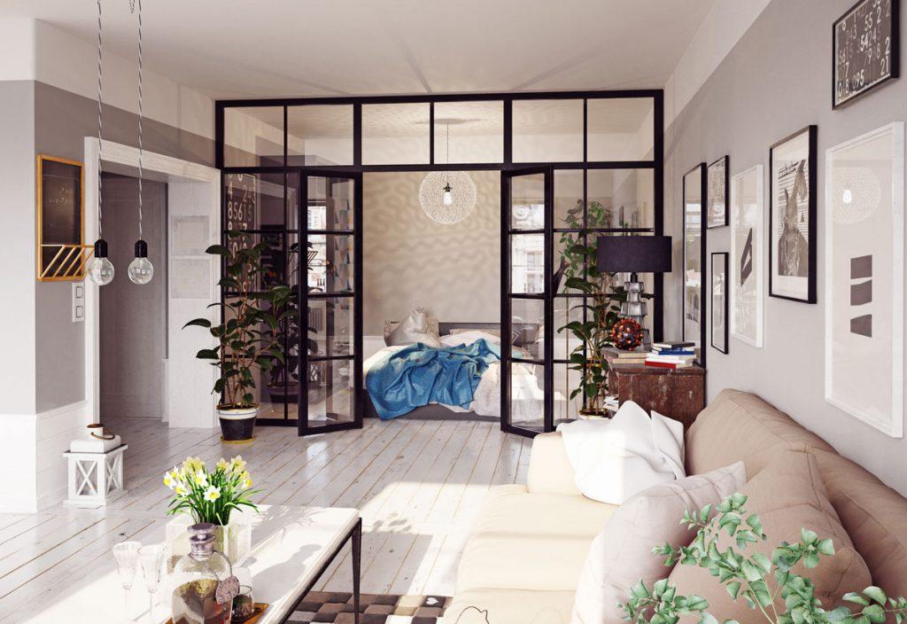 obývačka so svetlým nábytkom prepojená so spálňou sklenenou stenou