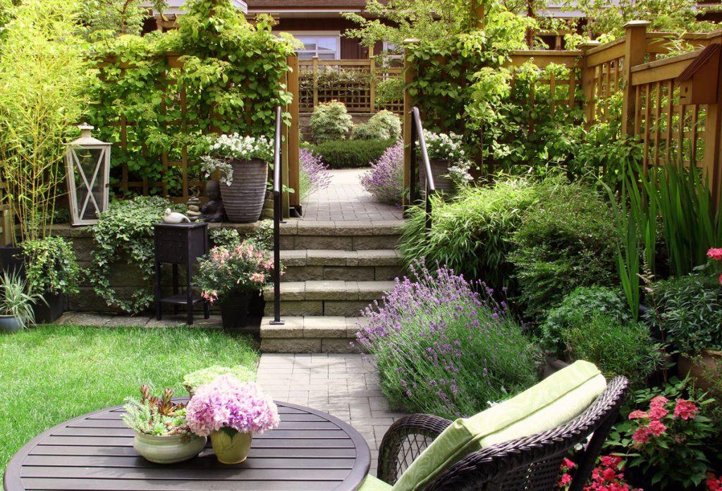 malá záhrada so sedením, trvalkovými záhonmi, kvetinami v nádobách a ťahavkami na drevenom plote