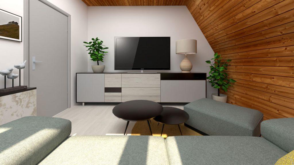 Dizajnérsky návrh pánskej podkrovnej obývačky