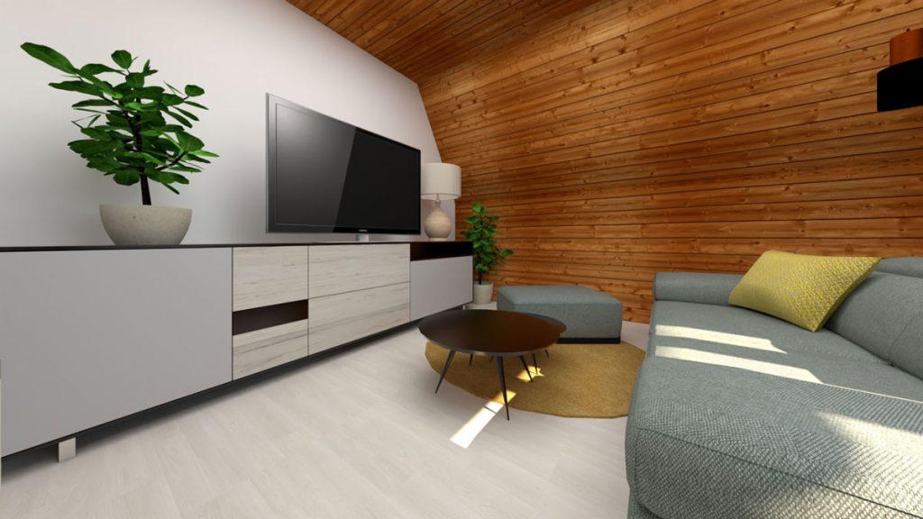 Dizajnérsky návrh pánskej podkrovnej obývačky v modernom štýle s pohovkou a TV stenou, s obkladom z tatranského profilu.