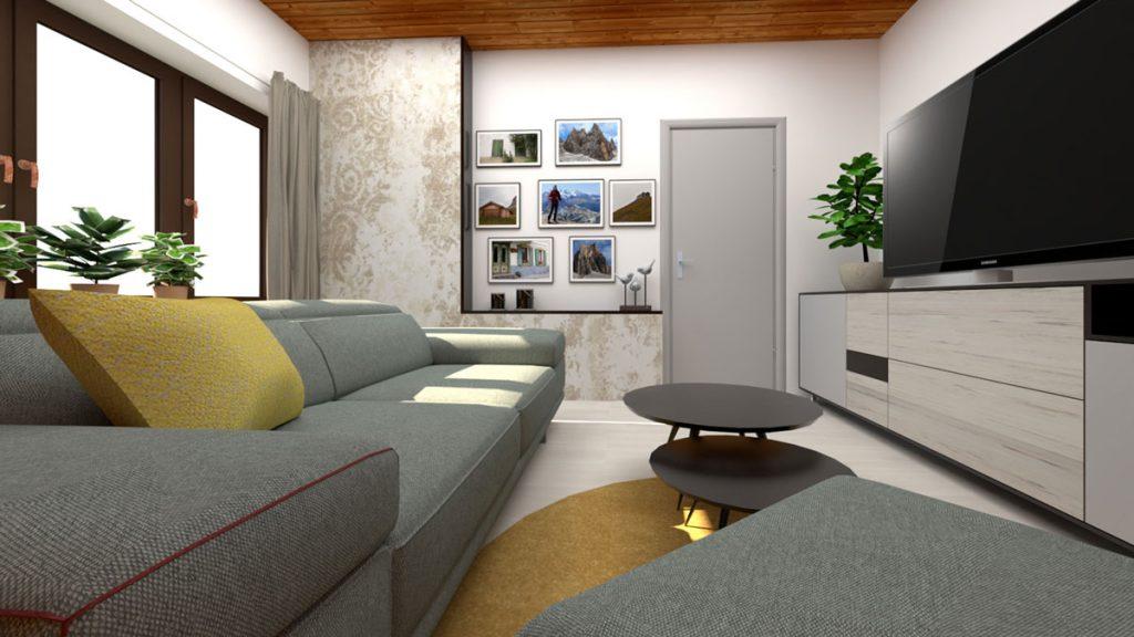 Premena podkrovnej detskej izby na pánsku obývačku v modernom štýle so sivou pohovkou, TV stenou, dreveným obložením a zlatou textúrou na tapete.