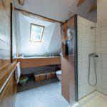 Podkrovná kúpeľňa v tradičnej zrekonštruovanej chalupe s dreveným obložením na stenách, dreveným stropom a sprchovacím kútom.