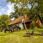 Zrekonštruovaná tradičná romantická chalupa s veľkou záhradou so starými stromami, na ktorej sa pasú oslík s poníkom.