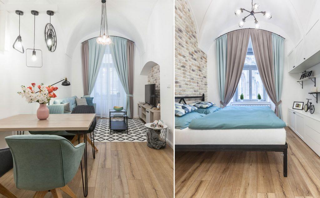 Kuchyňa spojená s obývačkou v retro a škandinávskom štýle a spálňa v retro vidieckom štýle.