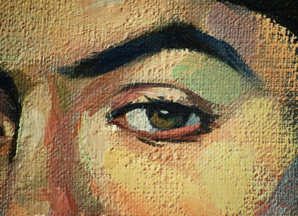 Motív tváre v interiéri: maľba portrétu na plátne