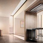 interiér modernej kuchyne s digestorom na odťahové odsávanie